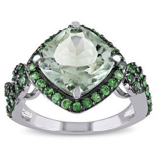 Miadora Sterling Silver Green Cushion-cut Amethyst Tsavorite Cocktail Ring