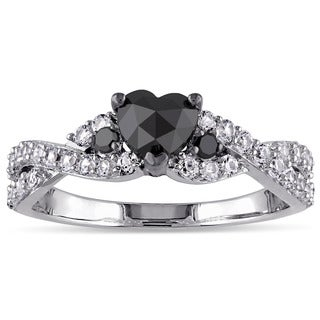 Miadora Sterling Silver Created White Sapphire 3/5ct TDW Black Diamond Heart Ring