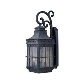 Maxim Forged Iron Seedy Shade Nantucket 3-light Outdoor Wall Mount Light