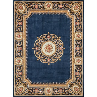 Aubusson Medallion Hand-tufted Wool Area Rug (3'6 x 5'6)