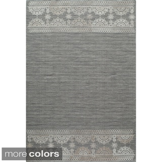Needlepoint Block Print Flat Weave Reversible Wool Area Rug (3'6 x 5'6)