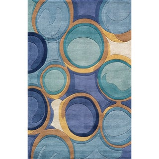 """Momeni New Wave Blue Hand-Tufted and Hand-Carved Wool Rug - 3'6"""" x 5'6"""""""