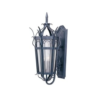 Maxim Forged Iron Seedy Shade Cathedral 3-light Outdoor Wall Mount Light