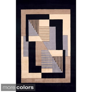 Momeni New Wave Black Hand-Tufted and Hand-Carved Wool Rug (3'6 X 5'6)
