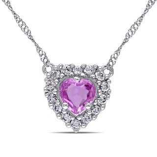 Miadora 14k White Gold Pink and White Sapphire Heart Necklace