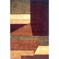 Momeni New Wave Wine Hand-Tufted and Hand-Carved Wool Rug (3'6 X 5'6)