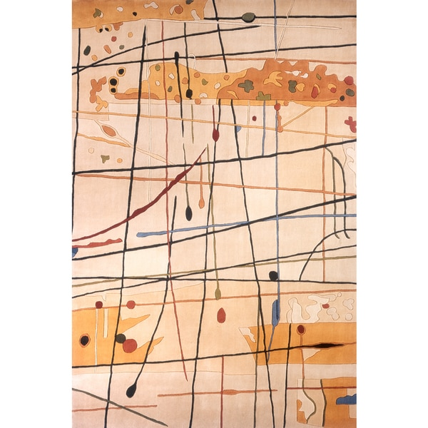 """Momeni New Wave Beige Hand-Tufted and Hand-Carved Wool Rug - 3'6"""" x 5'6"""""""