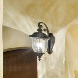Maxim Bronze Vivex Water Glass Shade Carriage House Vx 3-light Outdoor Wall Mount