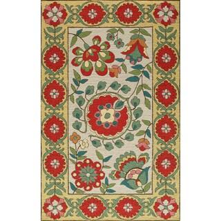 Uzbek Cottage Hand Hooked Wool Indoor Area Rug (3'6 x 5'6)