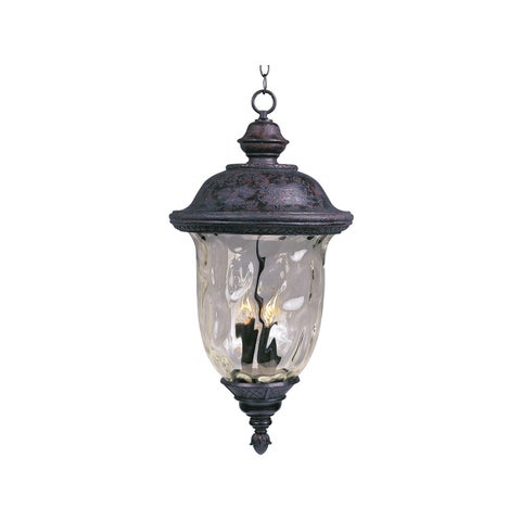 Maxim Bronze Die Cast Water Glass Shade Carriage House Dc 3-light Outdoor Hanging Lantern