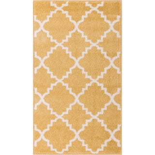 Well Woven Bright Trendy Twist Iron Trellis Lattice Moroccan Entryway Mat Area Rug (2'3 x 3'11) (Option: Gold - Off-White/Yellow)