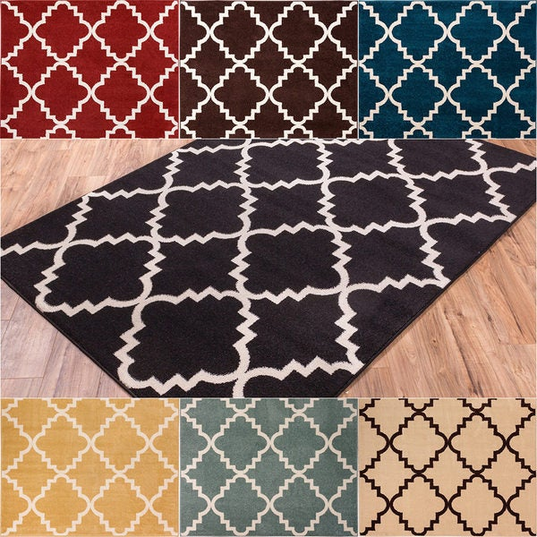 Contemporary Foyer Rugs : Shop well woven bright trendy twist iron trellis lattice