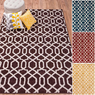 Well-woven Bright Trendy Twist Diamond Links Lattice Geometric Polypropylene Rug (7'10 x 10'6)