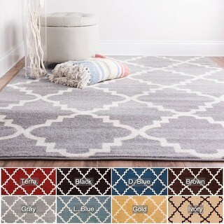 Well Woven Bright Trendy Twist Iron Trellis Lattice Polypropylene Rug (3'3 x 4'7) - 3'3 x 4'7