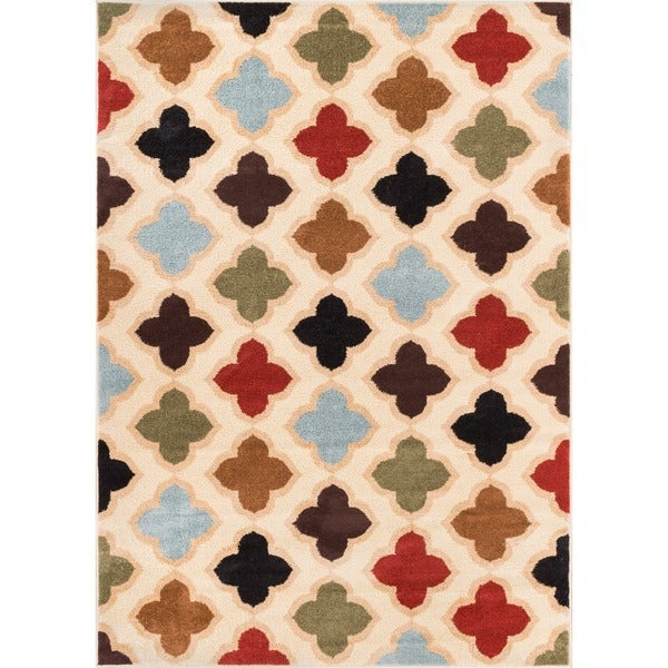 Well Woven Bright Trendy Twist Moroccon Quatrefoil Trellis Multi Lattice Area Rug (7'10 x 10'6)
