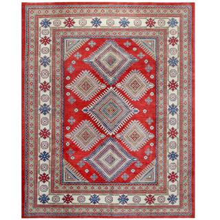 Herat Oriental Afghan Hand-knotted Tribal Kazak Red/ Ivory Wool Rug (8' x 10'1)