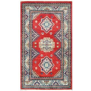 Herat Oriental Afghan Hand-knotted Tribal Kazak Red/ Ivory Wool Rug (2'3 x 3'11)