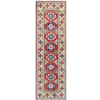 Herat Oriental Afghan Hand-knotted Tribal Kazak Red/ Ivory Wool Rug (2'7 x 8'6)
