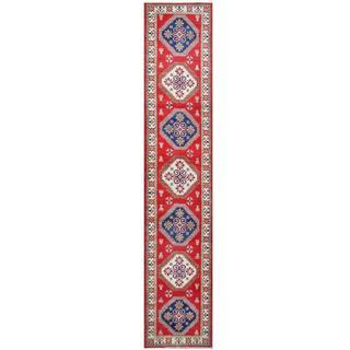 Herat Oriental Afghan Hand-knotted Tribal Kazak Wool Runner (2'8 x 13'6)