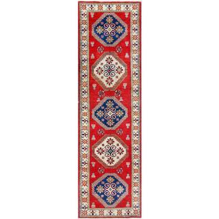 Herat Oriental Afghan Hand-knotted Tribal Kazak Red/ Ivory Wool Rug (2'9 x 9'6)