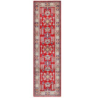 Herat Oriental Afghan Hand-knotted Tribal Kazak Red/ Ivory Wool Rug (2'8 x 9'5)