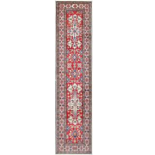 Herat Oriental Afghan Hand-knotted Tribal Kazak Red/ Ivory Wool Rug (2'8 x 10'9)