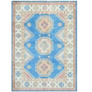 Herat Oriental Afghan Hand-knotted Tribal Kazak Light Blue/ Ivory Wool Rug (4'10 x 6'10)