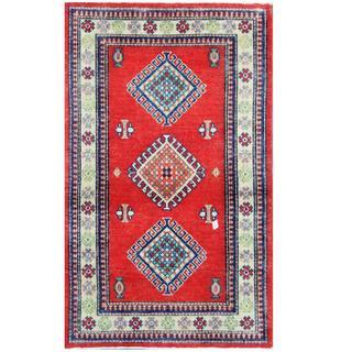 Herat Oriental Afghan Hand-knotted Tribal Kazak Wool Rug (3' x 4'4)