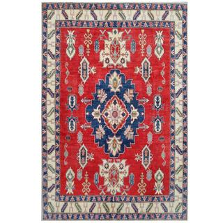 Herat Oriental Afghan Hand-knotted Tribal Kazak Red/ Ivory Wool Rug (7'7 x 11'2)