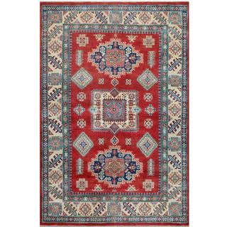 Herat Oriental Afghan Hand-knotted Tribal Kazak Red/ Ivory Wool Rug (5'5 x 8'1)
