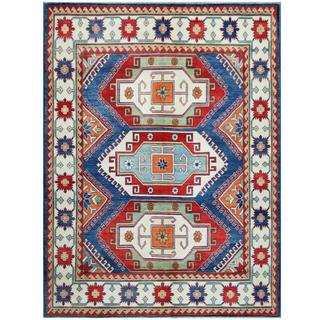 Herat Oriental Afghan Hand-knotted Tribal Kazak Red/ Ivory Wool Rug (6'4 x 8'6)