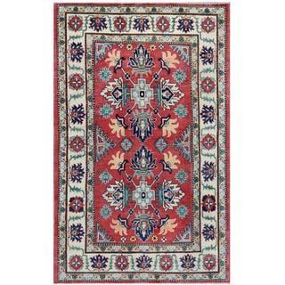 Herat Oriental Afghan Hand-knotted Tribal Kazak Rust/ Beige Wool Rug (4'10 x 7'9)