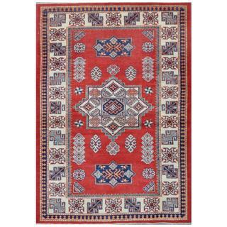 Herat Oriental Afghan Hand-knotted Tribal Super Kazak Wool Rug (4'1 x 5'9)