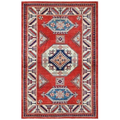 Handmade One-of-a-Kind Super Kazak Wool Rug (Afghanistan) - 4' x 6'1