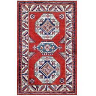 Herat Oriental Afghan Hand-knotted Tribal Super Kazak Red/ Ivory Wool Rug (4'1 x 6'6)