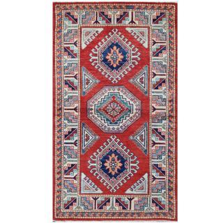 Herat Oriental Afghan Hand-knotted Tribal Super Kazak Wool Rug (2'10 x 5')