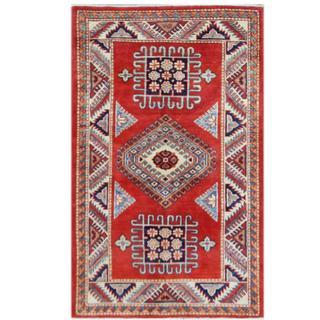 Herat Oriental Afghan Hand-knotted Tribal Super Kazak Wool Rug (3' x 4'11)