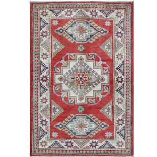 Herat Oriental Afghan Hand-knotted Tribal Super Kazak Red/ Ivory Wool Rug (3'5 x 5')