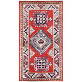 Herat Oriental Afghan Hand-knotted Tribal Super Kazak Red/ Ivory Wool Rug (2'9 x 5'1)
