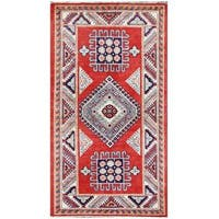 Handmade Herat Oriental Afghan Tribal Super Kazak Wool Rug (Afghanistan) - 2'9 x 5'1