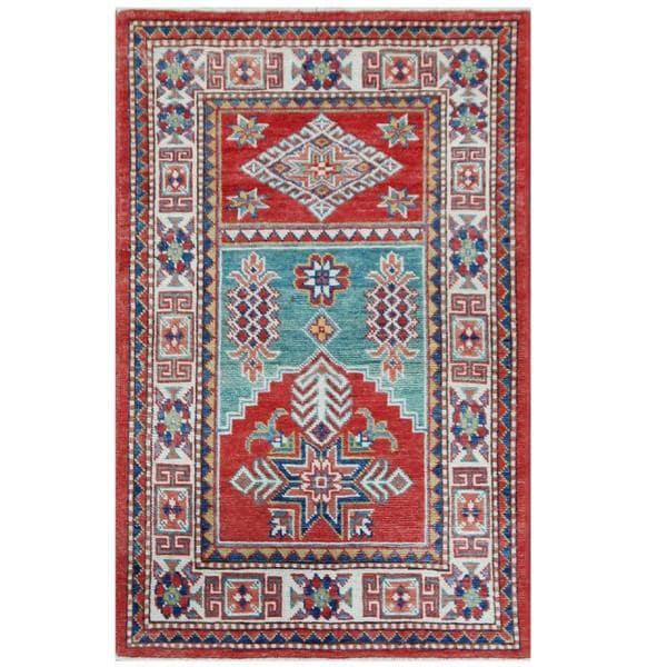 Herat Oriental Afghan Hand-knotted Tribal Super Kazak Wool Rug (2'8 x 4'4)
