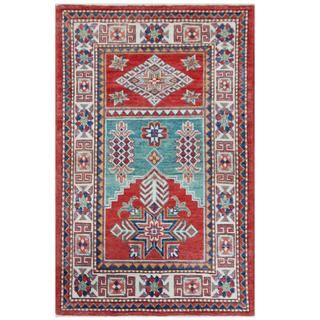 Herat Oriental Afghan Hand-knotted Tribal Super Kazak Red/ Ivory Wool Rug (2'8 x 4'4)