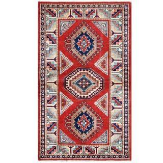 Herat Oriental Afghan Hand-knotted Tribal Super Kazak Wool Rug (2'1 x 4'11)
