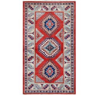 Herat Oriental Afghan Hand-knotted Tribal Super Kazak Red/ Ivory Wool Rug (2'9 x 5')