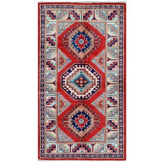 Herat Oriental Afghan Hand-knotted Tribal Super Kazak Red/ Ivory Wool Rug (2'10 x 5')
