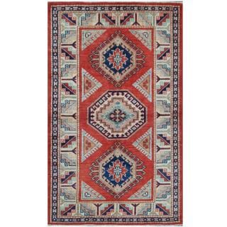 Herat Oriental Afghan Hand-knotted Tribal Super Kazak Red/ Ivory Wool Rug (2'11 x 4'10)