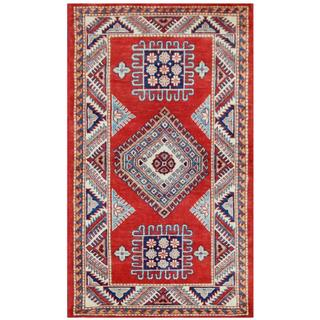 Herat Oriental Afghan Hand-knotted Tribal Super Kazak Red/ Ivory Wool Rug (2'10 x 4'10)