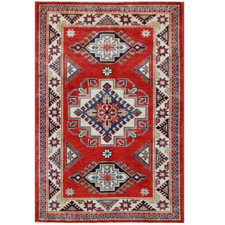 Herat Oriental Afghan Hand-knotted Tribal Super Kazak Red/ Ivory Wool Rug (3'3 x 4'10)