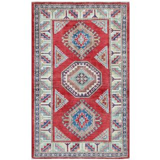 Herat Oriental Afghan Hand-knotted Tribal Super Kazak Red/ Ivory Wool Rug (3'2 x 5'2)
