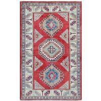Handmade Herat Oriental Afghan Tribal Super Kazak Wool Rug (Afghanistan) - 3'2 x 5'2